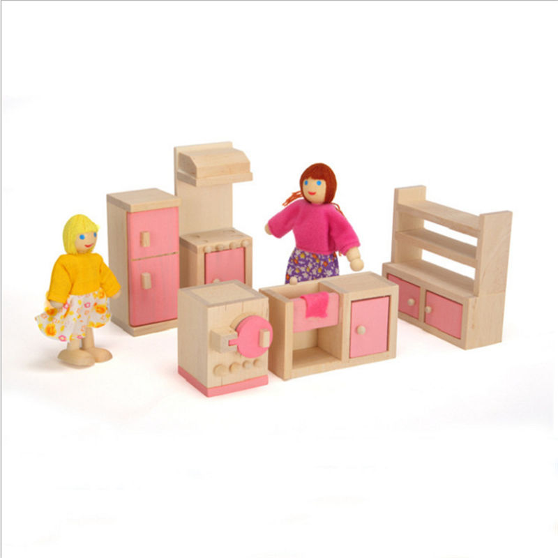 Kids Bedroom Furniture Kids Wooden Toys Online: Wooden Dollhouse Furniture Children Pretend Play Bedroom
