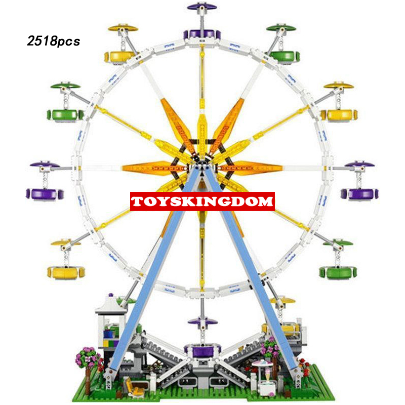 Funny Classic Creator city Funland Ferris Wheel building block model boys & girls figures bricks 10247 toys collection for kids hot funland merry go round building block with motor figures whirligig bricks 10196 model electric toys collection for kids gfit