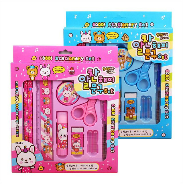 boy girl birthday gift creative kids cute cartoon stationery 2016 hot selling stationery set christmas present