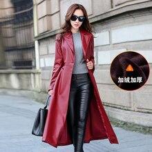 Long Leather Female Thin Coat 2016 Winter Fashion Large Size Women Cashmere Windbreaker Leather Coat and Knee