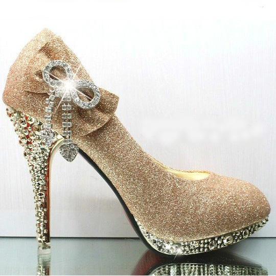New Style Fashion 2013 Womens Silver Red Gold Glitter Flower Crystal  Wedding Evening Prom Dress Metallic HIgh Heels Shoe Red bd2354be5594