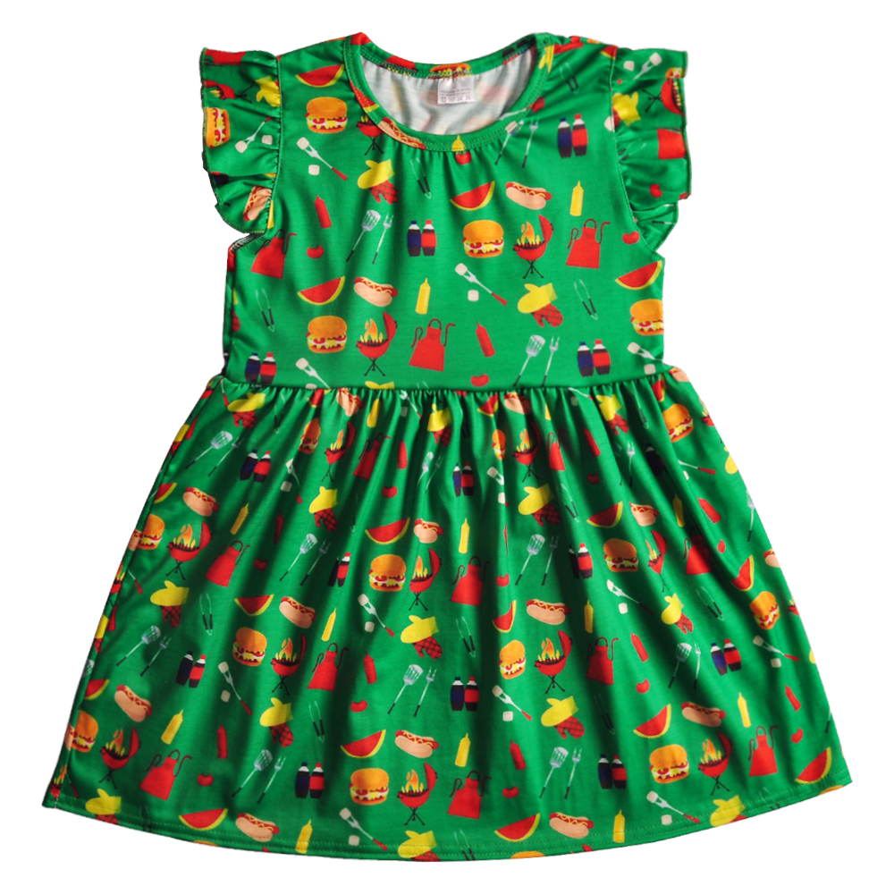 Remake venta al por mayor vestido de verano de bebé sin mangas de algodón hamburguesa patrón de ropa de bebé niñas vestido GSY812-159