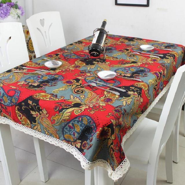 National Flower Color Fabric Cotton Linen Table Cloth Wedding Hotel Bar  Table Cover