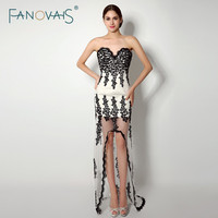 2015 Summer Sexy Sweetheat Black And White High Low Cocktail Dresses With Appliques Robe De Cocktail