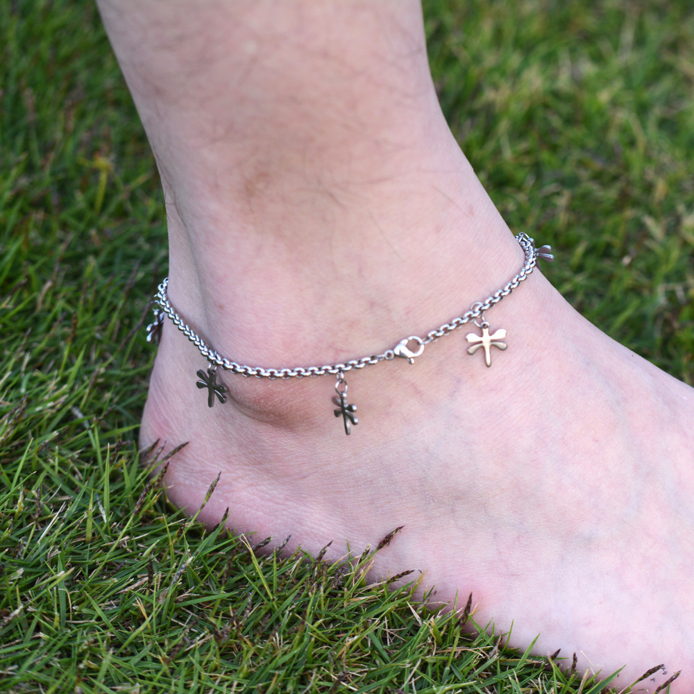 Diy 316l Stainless Steel Anklet Chain With Small Butterfly Charms Kalung Wanita Simpel 015 Ankle Bracelet Foot Jewelry