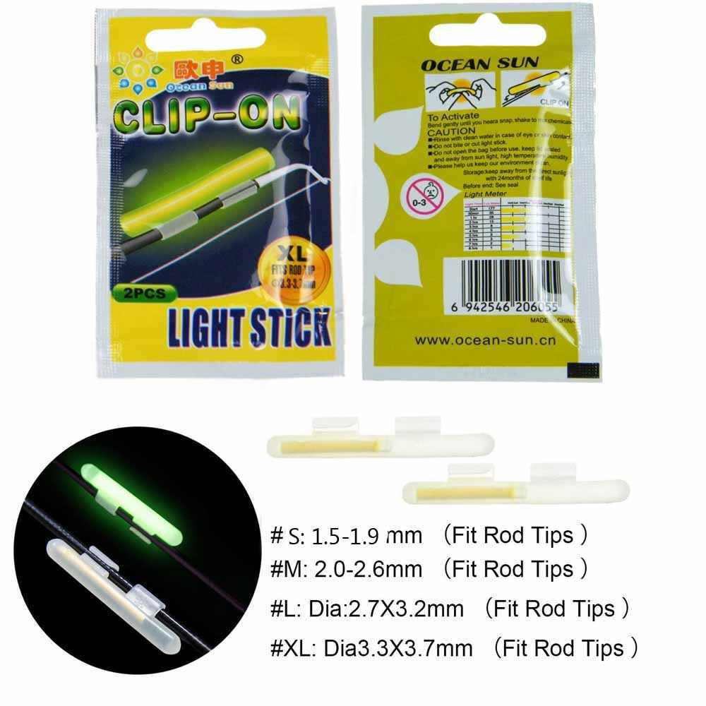 10Pcs Fishing Light Stick Clip on Rod Tip Night Fishing Fluorescent Sticks V1G8