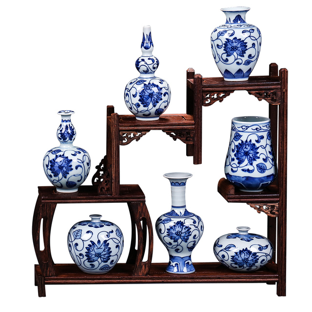 Antique Jingdezhen Handpainted Blue And White Porcelain Vases Creative Small Flower Vase Handmade Home Furnishing Aticles