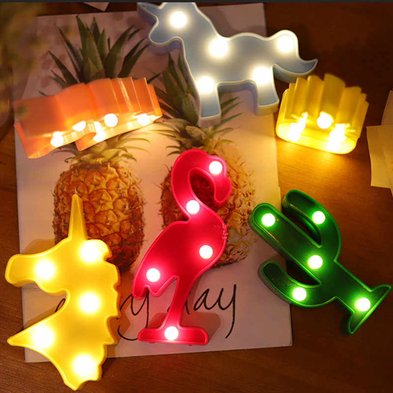 Ins Hot style chic wind in South Koreathe Unicorn flamingo cactus pineapple clouds decoration lamp letters led night light