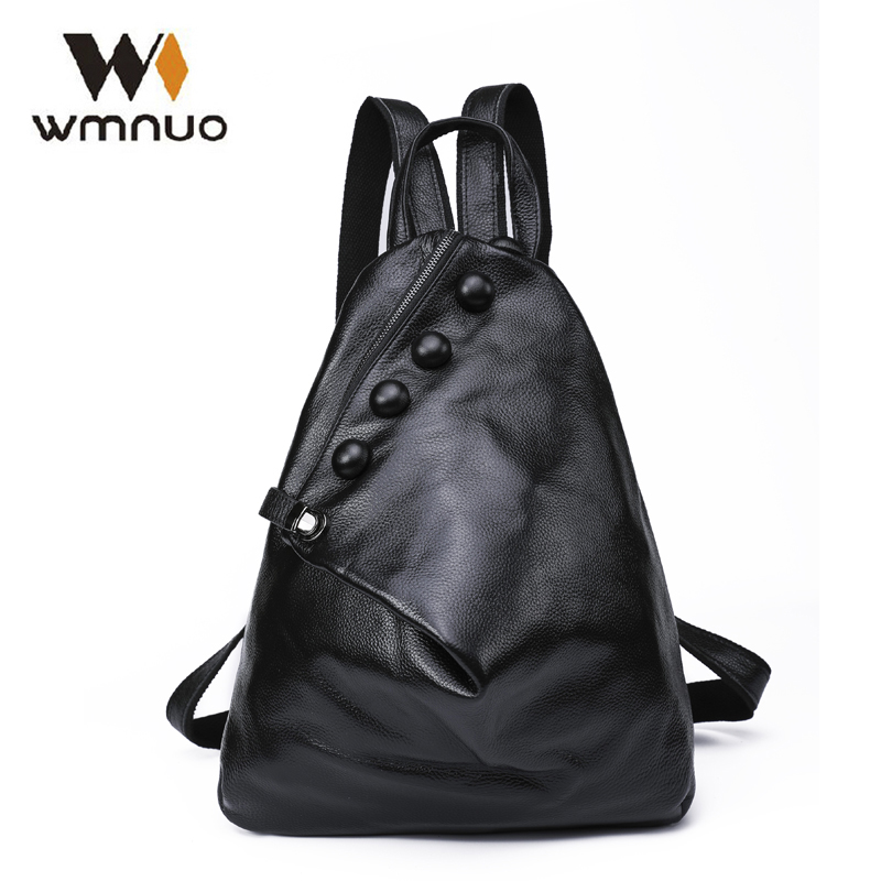 Wmnuo Women Backpack Cow Leather For Girls School Bags Fashion Shoulder Bag Mochila Designer Travel Bag Casual Computer Backpack fashion women leather backpack rucksack travel school bag shoulder bags satchel girls mochila feminina school bags for teenagers