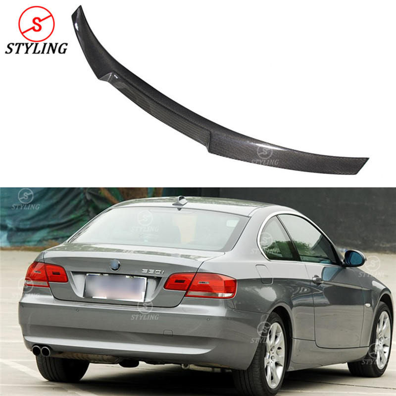 For BMW E92 & E92 M3 Carbon Fiber Spoiler M4 Style Coupe 3 series E92 Carbon Fiber rear spoiler Rear trunk wing 2-door 2005-2012 for bmw e92 carbon fiber spoiler p style 3 series e92