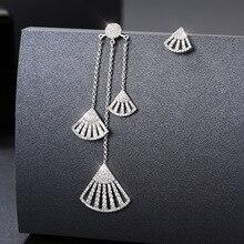 S925 Sterling Silver Needle Fashion Micro Pave AAA+CZ Crystals Fan Tassel Asymmetry Dangle Earrings for Women