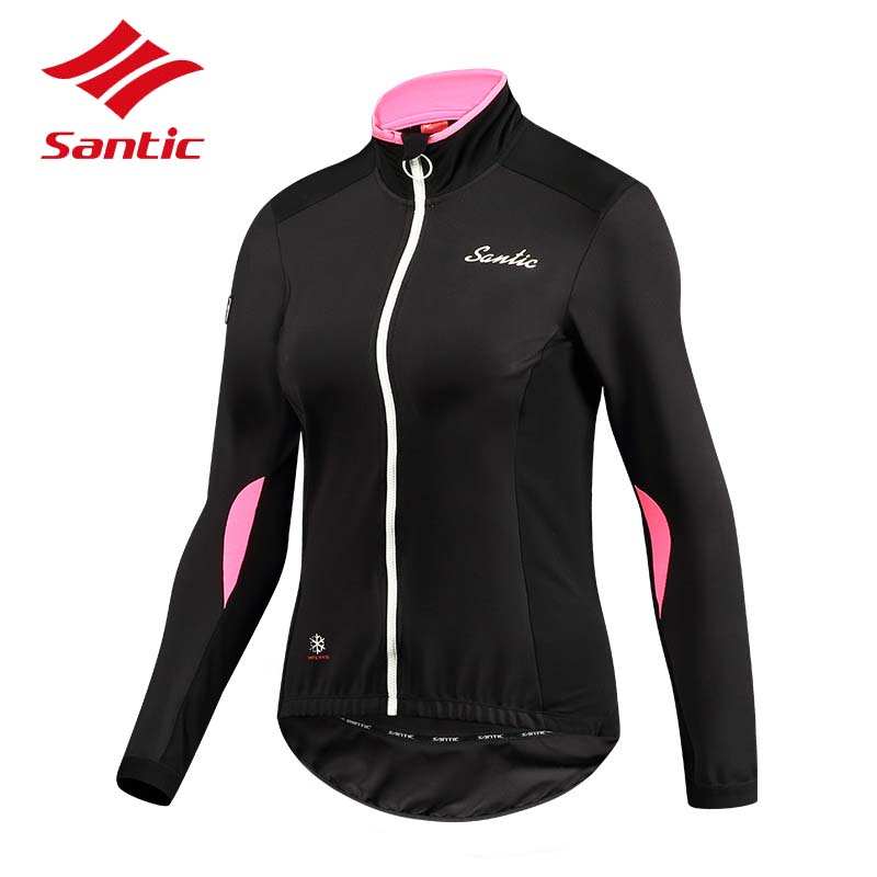 Santic Cycling Jacket Winter Women Windproof MTB Road Bike Bicycle Jersey Thermal Cycling Clothing Ropa Ciclismo 8-16 Degree comfast full gigabit core gateway ac gateway controller mt7621 wifi project manager with 4 1000mbps wan lan port 880mhz cf ac200