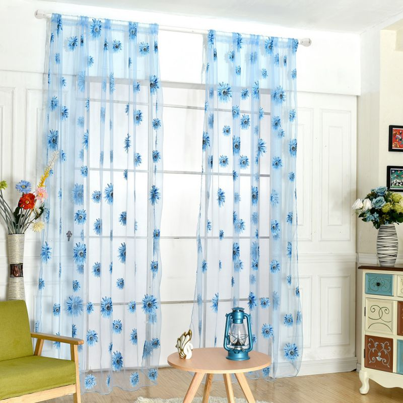 New Arrival 200cm x 95 cm Butterfly Print Sheer Window Panel Curtains Room Divider Living Room Bedroom