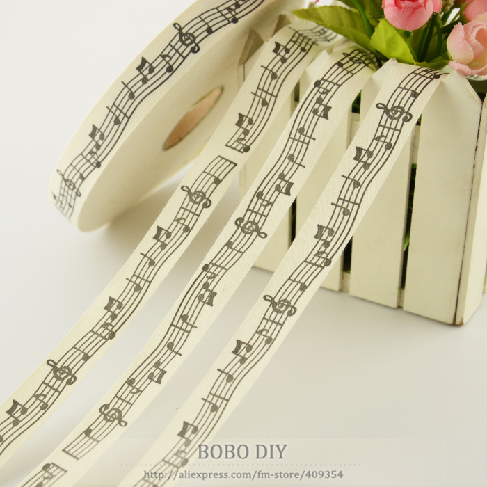 Mini.order is $5 (mix order)cloths sewing tape2.5CM width Zakka cotton ribbons music note label BOBO DIY accessory free shipping