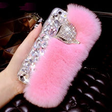 Fashion Mewah Diamond Fox Bulu Kelinci Shell Berlian Imitasi Ponsel Case untuk iPhone 6/6 S/6/7/8 plus/X/XR(China)