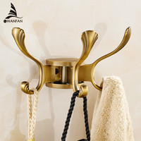 Free Shipping Rotation Three Hooks Gold Wall Clothes Rack Cloth Hook Wall Hook Robe Hook For