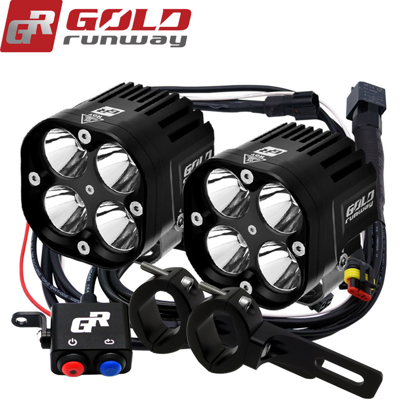 2PCS 40W Motorcycle Headlight 4200LM Motorbike U3 LED Moto Driving Fog Spot Head Light with Mounting clamps Wiring harness