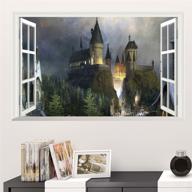 3D Harry Potter Wall Stickers School of magic castle stereo window scenery of the living room