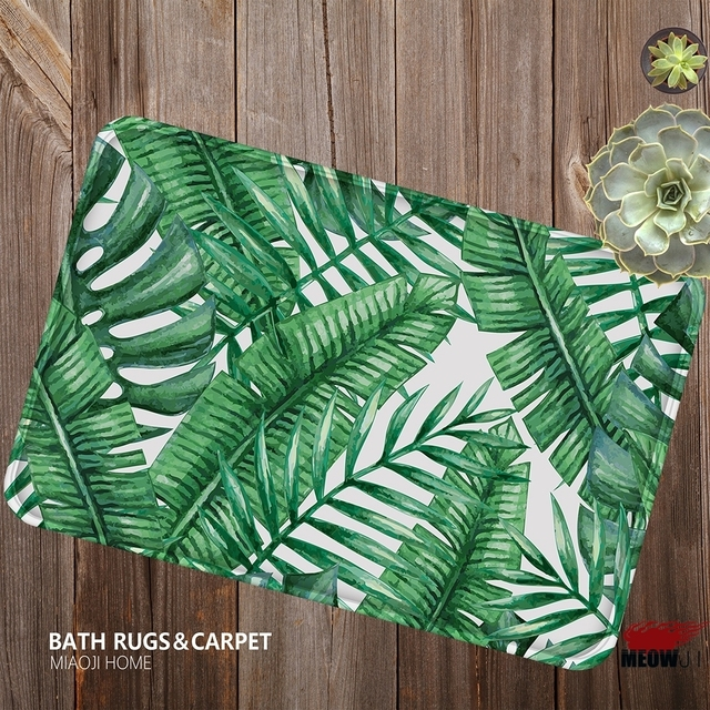 MIAOJI] tapis doux Tropical vert grandes feuilles cuisine paillasson ...