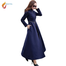 JQNZHNL 2017 Herbst Winter Frauen X-lange Trenchcoat Mode Damen Dünne Wollmantel Graben Temperament Verdicken Trenchcoat L389(China)