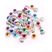 50pcs mixed Grid Round Ball mesh Spacer Beads Charms big hole Findings For Jewelry Making Craft DIY(China)