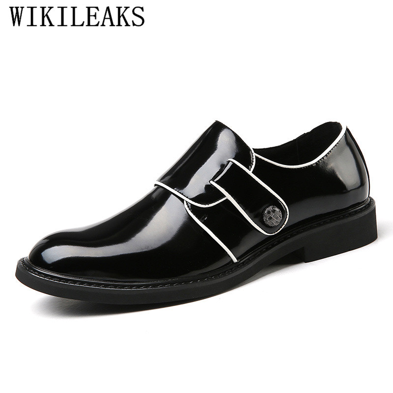 2018 Luxury Brand Black Men Dress Shoes Patent Leather Formal Business Men Oxfords Shoes For Men Metal Buckle Wedding Party Shoe red patent leather man dress shoes fashion slip on oxfords for men genuine leather punk buckle chain formal party wedding shoes