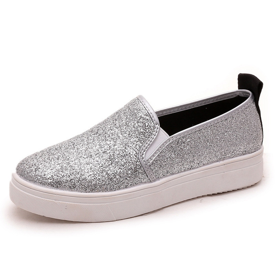 2017 shoes Women platform Loafers Silver Sequined Cloth Slip on Flat Shoes Spring Autumn Woman Creepers Glitter zapatos mujer цены онлайн