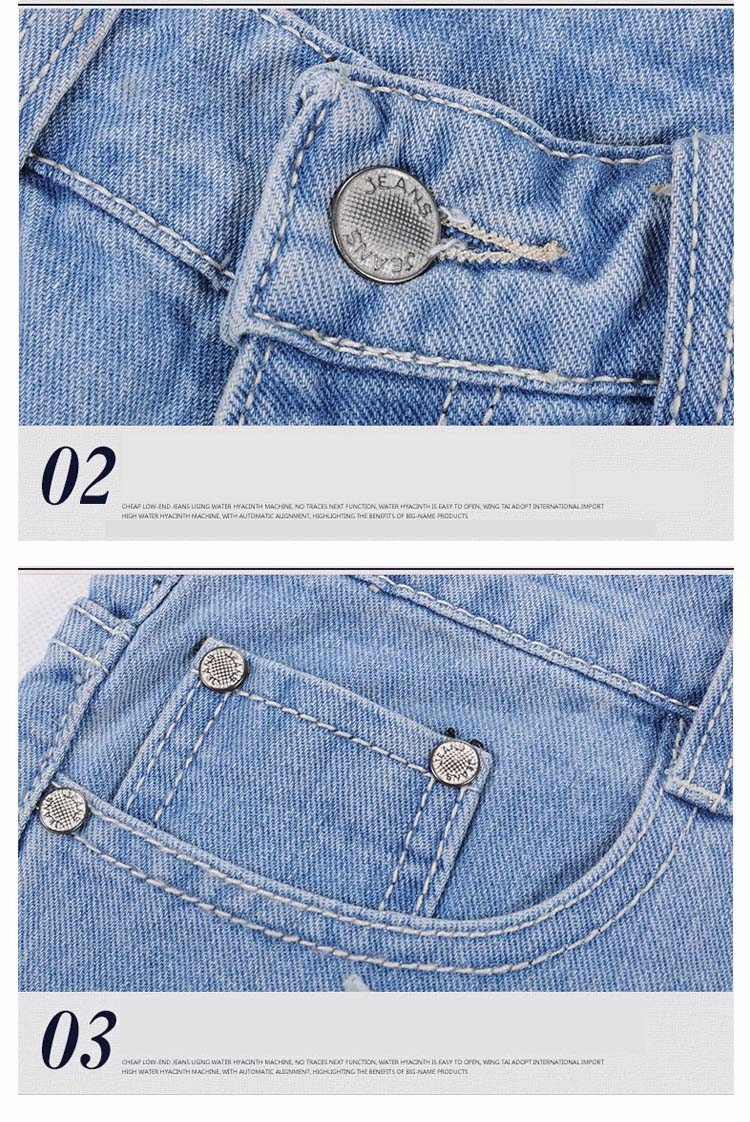 Fashion women Korean summer denim shorts sexy punk rivet hole mini jeans shorts soft bottom plus size female blue shorts A160 G (2)