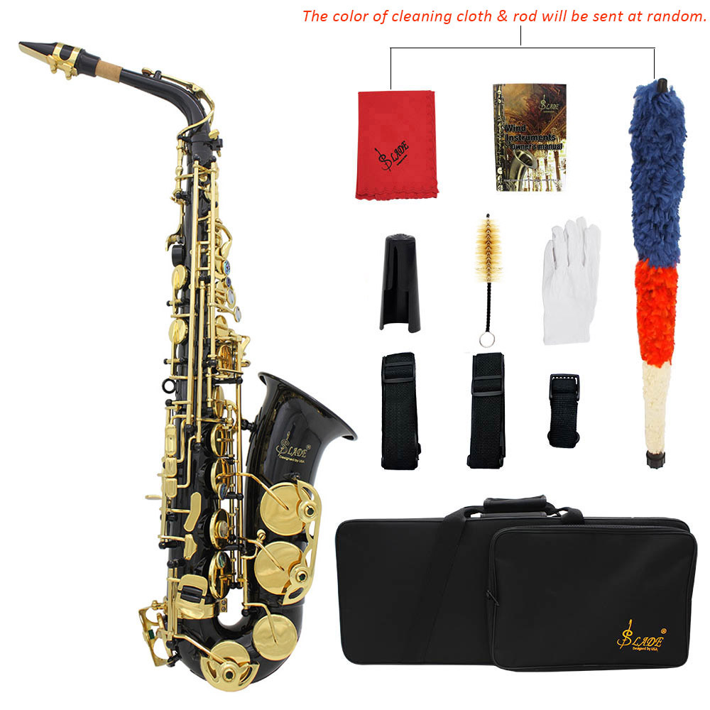 LADE Brass Engraved E-Flat Alto Saxophone Sax Abalone Shell Buttons Wind Instrument with Case Gloves Cleaning Cloth Belt Brush