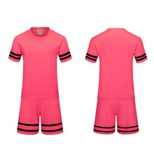 Pink men's training short sleevejersey breathable runningsets sportswear soccer team football kits adult DIY logo good quality