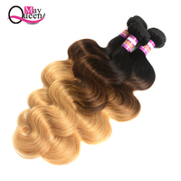 May Queen 3 Body Wave Ombre Human Hair 1B/4/27 Three Tone Color Brazilian Hair Weave Bundles Remy Ombre Hair Bundles Extensions