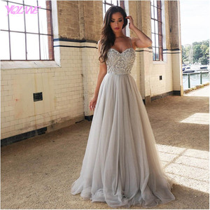 Image 1 - YQLNNE 2018 Silver Rhinestones Long Prom Dresses Evening Party Dress Straps Tulle Crystals Beaded Vestido De Festa