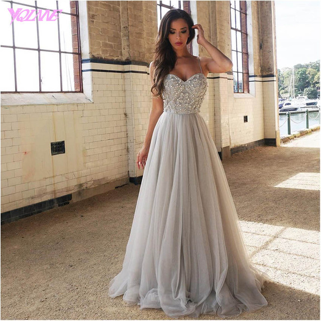 YQLNNE 2018 Sliver Rhinestones Long Prom Dresses Evening Party Dress Straps Tulle Crystals Beaded Vestido De Festa