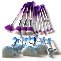10pcs Light Blue Makeup Brushes Set Purple Color Sector Facial Foundation Blending Foundation Cosmetic Makeup Brush