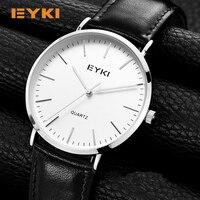 EYKI 6mm Ultra Thin Men Watches 2017 Luxury Brand Simple Genuine Leather Shockproof Waterproof Gold Watch