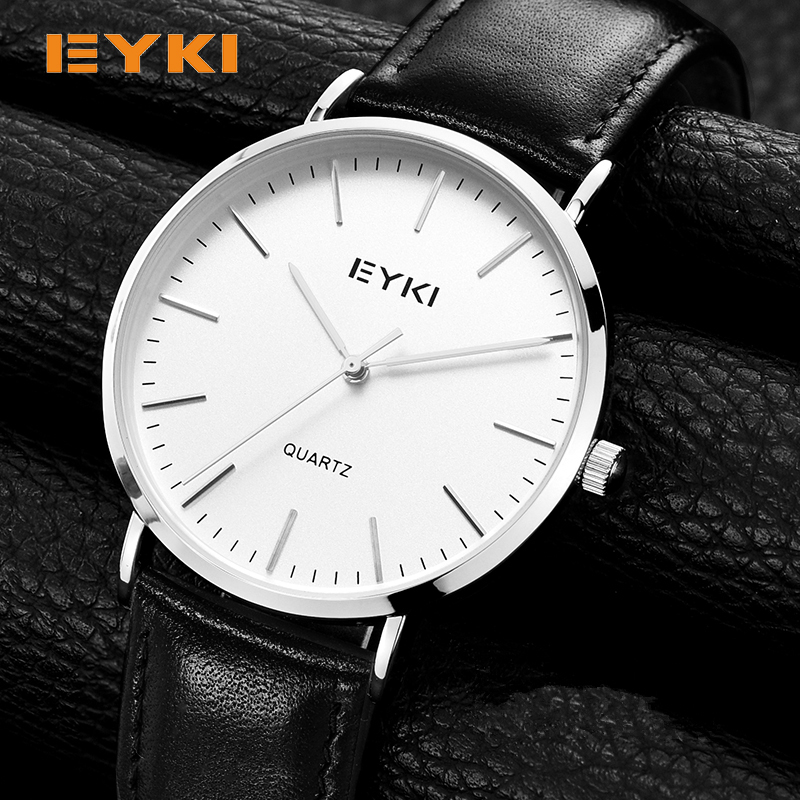 EYKI 6mm Ultra Thin Men Watches 2017 Luxury Brand Simple Genuine Leather Shockproof Waterproof Gold Watch