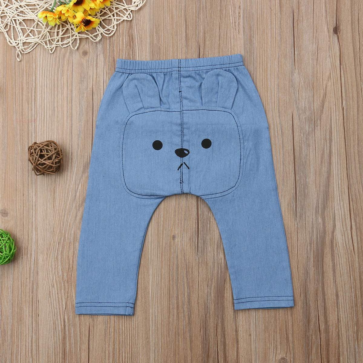 Infant Baby Boys&Girls Clothes Cartoon Bears Denim Clothing Long Pants Bottoms Kids Trousers 0-3 Years 4