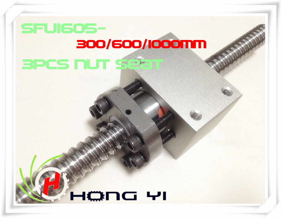 купить 3 X SFU1605 (300/600/1000MM)-C7 Anti Backlash Rolled Ballscrew +3pcs RM1605 Ball nut Housing Bracket Holder CNC X Y Z по цене 4569.43 рублей