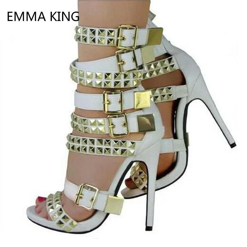 Summer Sandals New Multi-straps Stiletto High Heels Rivets Fashion Party Shoes Buckles Black Sexy Heels Sandalias Mujer 2019Summer Sandals New Multi-straps Stiletto High Heels Rivets Fashion Party Shoes Buckles Black Sexy Heels Sandalias Mujer 2019