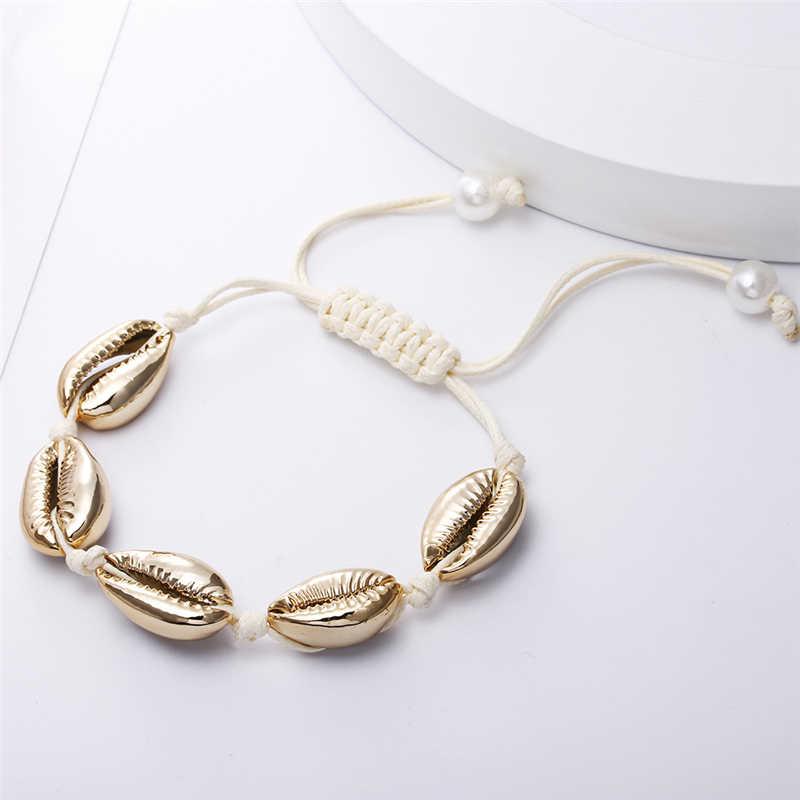 Bohemio natural mar Concha pulseras tobillera mano tejida cuerda elástica cuentas Pulseira DIY playa joyería accesorios verano mujeres