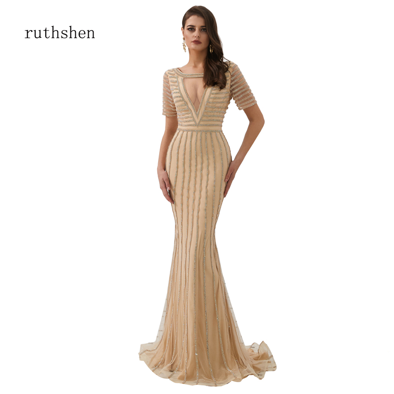 ruthshen   Evening     Dress   Long 2019 Crystal Beading Luxury Gown Formal   Dresses   See-through Low Cup Sexy Curve Shape Mermaid   dress