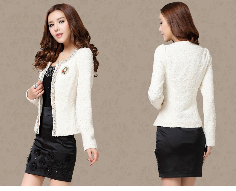 Dingaozlz Autumn-Winter Coat Short Design Women Outerwear Elegant Beaded Diamond Slim Long Sleeve Plus Size Small Jacket M-Xxxl (Us 2-14)