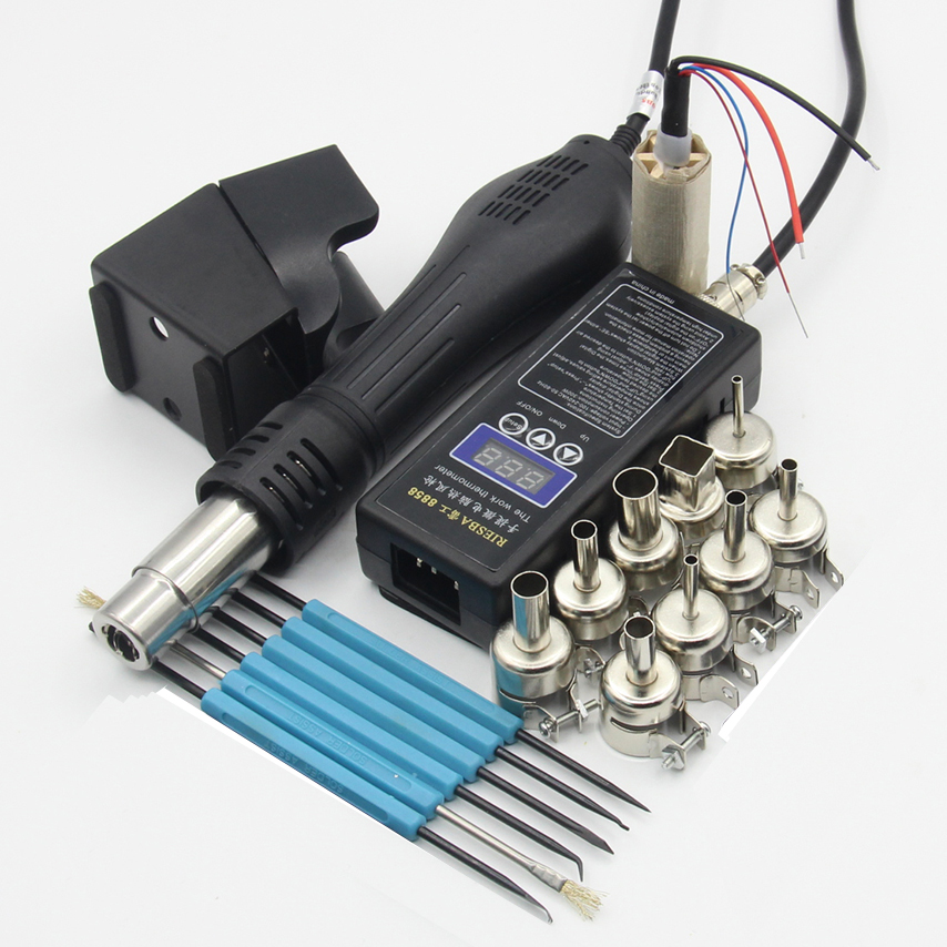 Riesba 8858 PLUG Portable BGA Rework Solder Station Hot Air Blower Heat Gun 850 Nozzle tweezers Welding tools