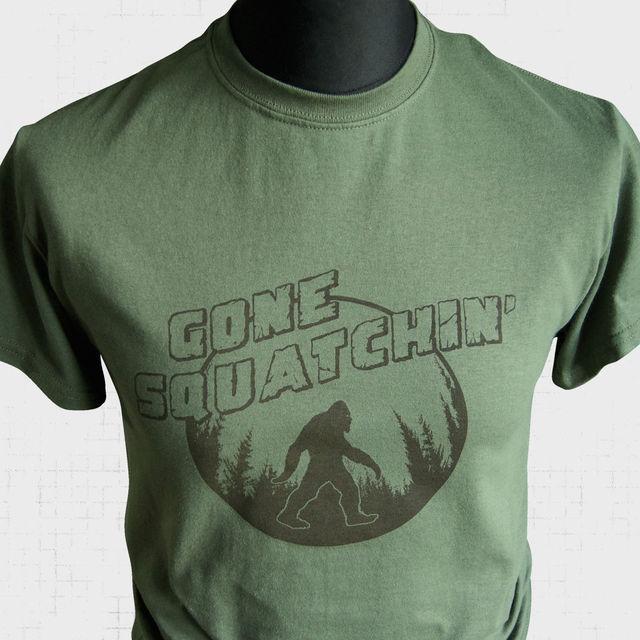 8653a1b12 Gone Squatchin T Shirt Bigfoot Sasquatch Squatching Yeti Hunter Green New T  Shirts Funny Tops Tee