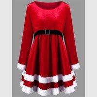 LANGSTAR 2017 New Fashion Autumn Christmas Plus Size 5XL Velvet Long Sleeve Dress Women Casual Long