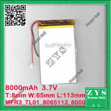 three.7V 8000mah (polymer lithium ion battery) Li-ion battery for pill laptop 7 inch MP3 MP4 [3065113] Free Delivery,Measurement:8x65x113mm