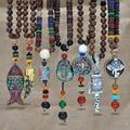 Этнические бусы ручной работы, индийские богемные буддийские бусы из дерева, тибетская рыба, длинные массивные ожерелья для мужчин и женщин