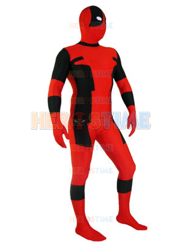 Classic Red and Black Deadpool Zentai Full Body Suit Lycra Spandex Deadpool Xmen Halloween Cosplay Party Costume Free Shipping