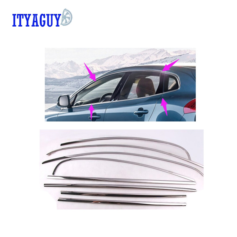12PCS Car styling Side Window Trim car styling stainless steel car window trims For VOLVO V40 car accessories for renault koleos 2008 2012 stainless steel complete window sill belt trim windows molding trims glass strips car styling