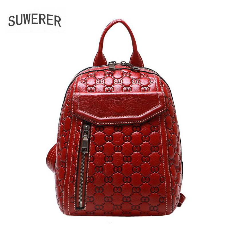 SUWERER new Genuine Leather backpack women luxury backpack women bags designer bags women female backpack fashion embossed bag цена